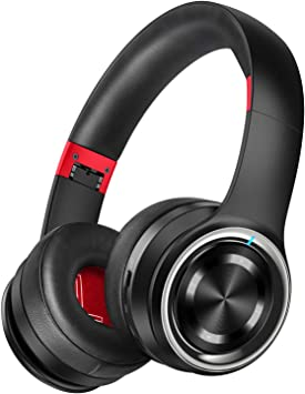 Amazon Com Picun P26 Bluetooth Headphones Over Ear 40h Playtime Hi Fi Stereo Wireless Headphones Deep Bass Foldable Wired Wireless Tf For Cell Phone Pc Bluetooth 5 0 Wireless Headset With Mic Black Red Electronics
