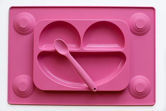 EasyMat Plato de succión de silicona y mantel todo en uno con cuchara. set de alimentación con cara de bebé. Placa de succión con tazón seccional para uso ...