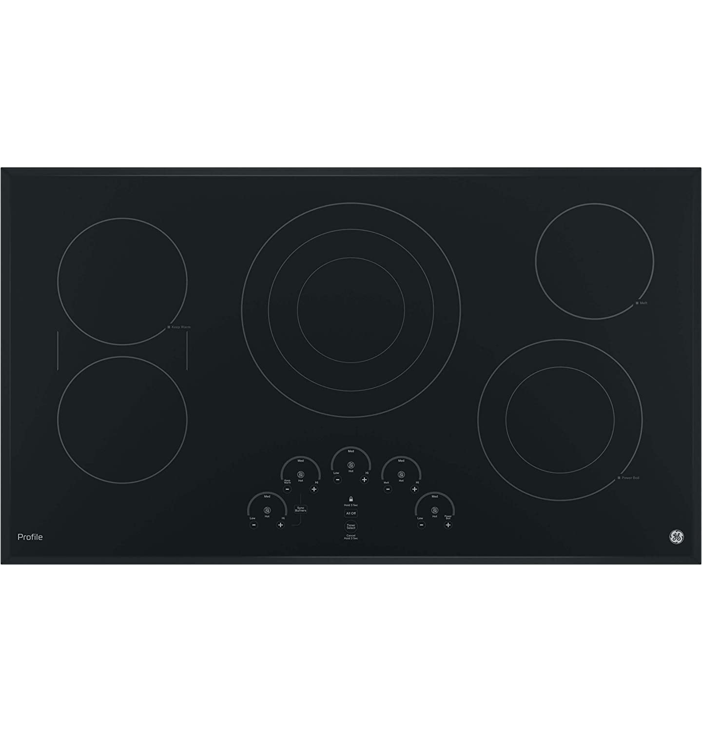"""GE PP9036DJBB 36 Inch Electric Cooktop with 5 Radiant, Bridge SyncBurners, 6""""/9""""/12 Inch Tri-Ring, 5""""/8 Inch Power Boil Element, Red LED Touch Controls, ADA Compliant Fits Guarantee"""