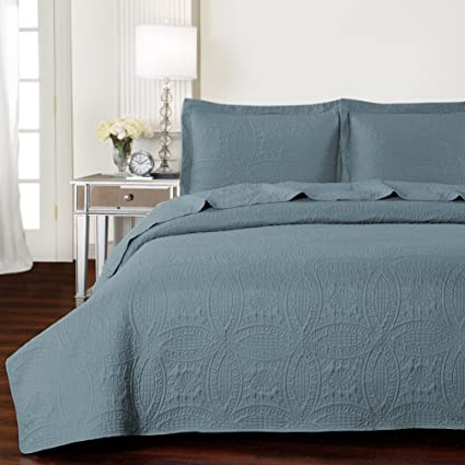 Mellanni Bedspread Coverlet Set Spa Blue   BEST QUALITY Comforter Oversized  3 Piece Quilt