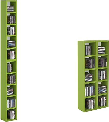 Carolina de muebles CD DVD Estantería de almacenamiento estante Chart en verde/blanco con 10 compartimentos para hasta 160 CD, 20 x 186,5 cm (ancho x ...