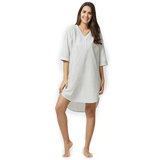 ea049838c6 Classic Striped Shirt Dress Cotton Sleepwear Nightwear Casual Women Ladies White  Grey C325C at Amazon Women s Clothing store