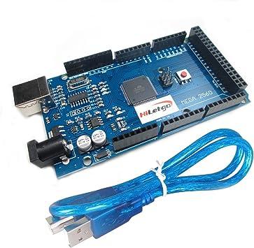 hiletgo Mega2560 R3 ATMega16U2 CH340 microcontrolador Junta Junta de Desarrollo Compatible para Arduino con cable USB: Amazon.es: Electrónica