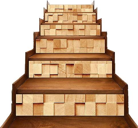 DECB Pegatinas de escaleras 6 Piezas Vinilo Decorativo Cubo Calcomanías de Salpicaduras murales Autoadhesivas Creativas en 3D Sala de Estar Cocina Baño Decoración Mural 18 × 100cm: Amazon.es: Hogar