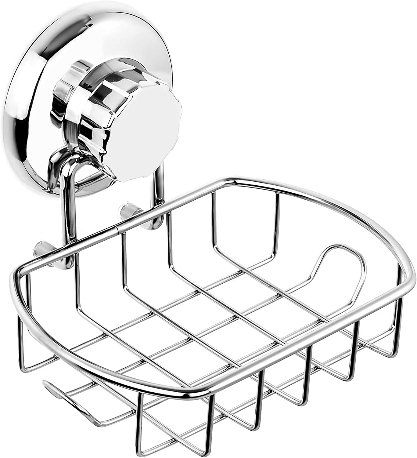 HASKO accessories Suction Soap Dish with Hooks | Powerful Vacuum Suction Cup Soap Holder | Soap Basket Sponge Holder for Bathroom & Kitchen (Polished Stainless Steel SS304)