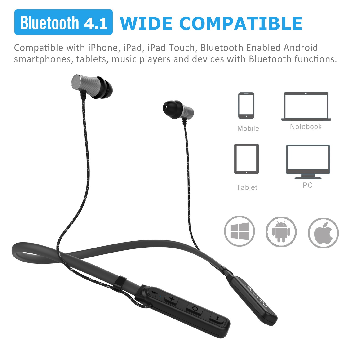 Barsone Neck Band Wireless Bluetooth Headset, Bluetooth 4.1 Headphones Stereo Magnetic Attraction Earbuds Sweat-Proof Sports In Ear Headphones with Microphone for iPhone,Samsung HTC and Most Other Bluetooth Bluetooth Devices (Gray)