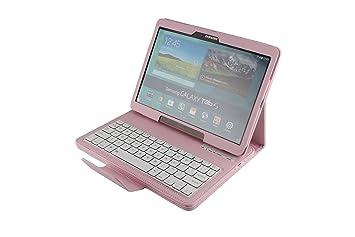 Desmontable Teclado Bluetooth Inalámbrico (QWERTY) Soporte Funda de Cuero para Samsung Galaxy Tab S