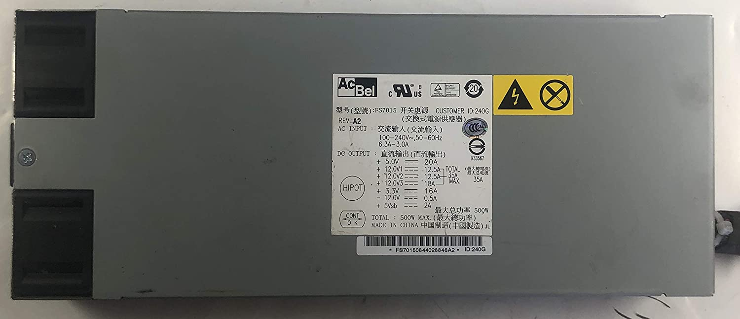 AcBel FS7015 240G 500W Power Supply for Dell F1D Server (Certified Refurbished)