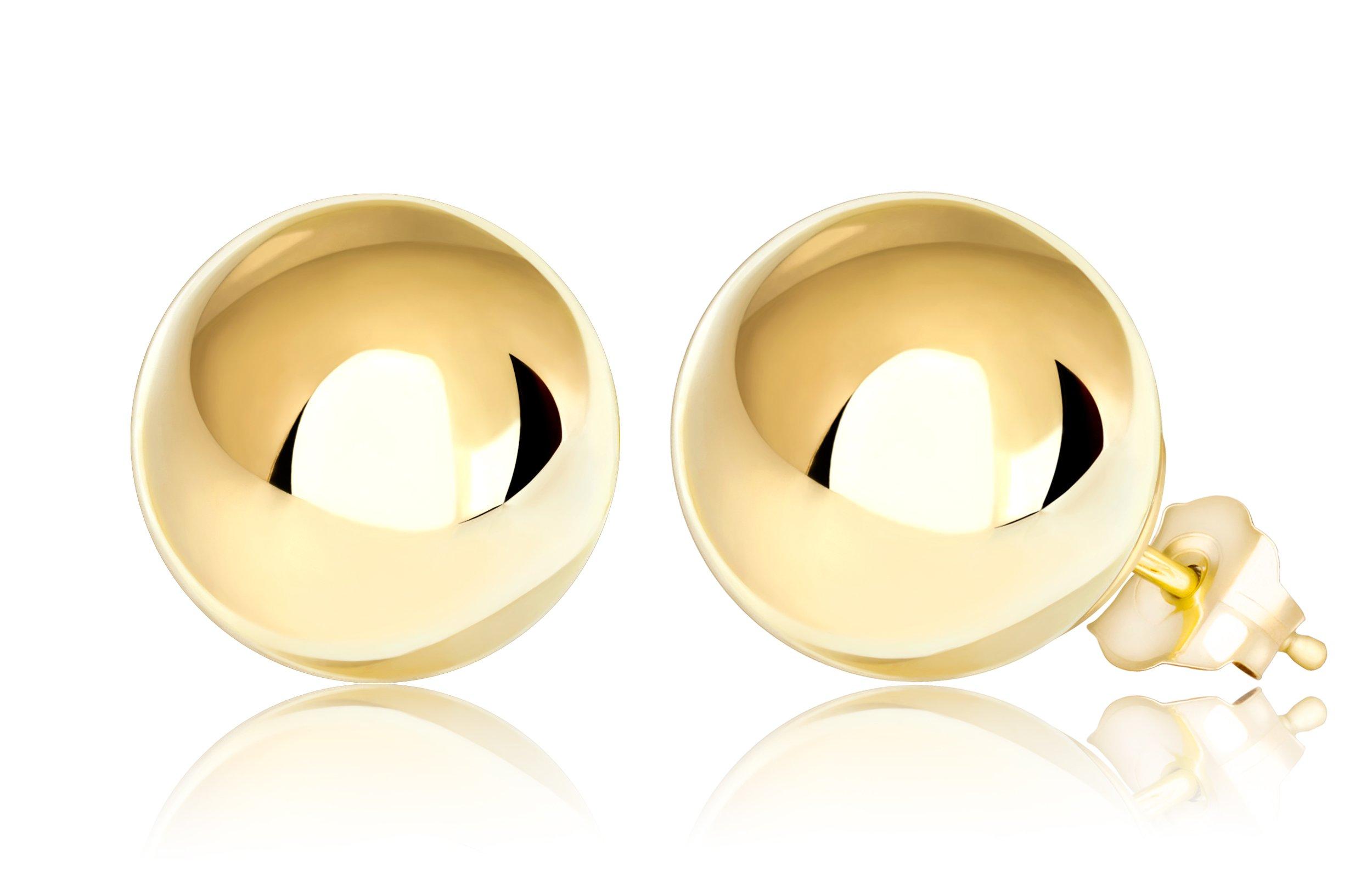 Premium 14K Yellow Gold Ball Stud Earrings (10mm - Yellow Gold)