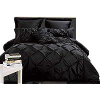 Fantine Quilt Cover Set, 3 Piece Modern Pintuck Design Doona Cover Set (Black/White / Charcoal Grey Color, Queen/King /Super King Size)