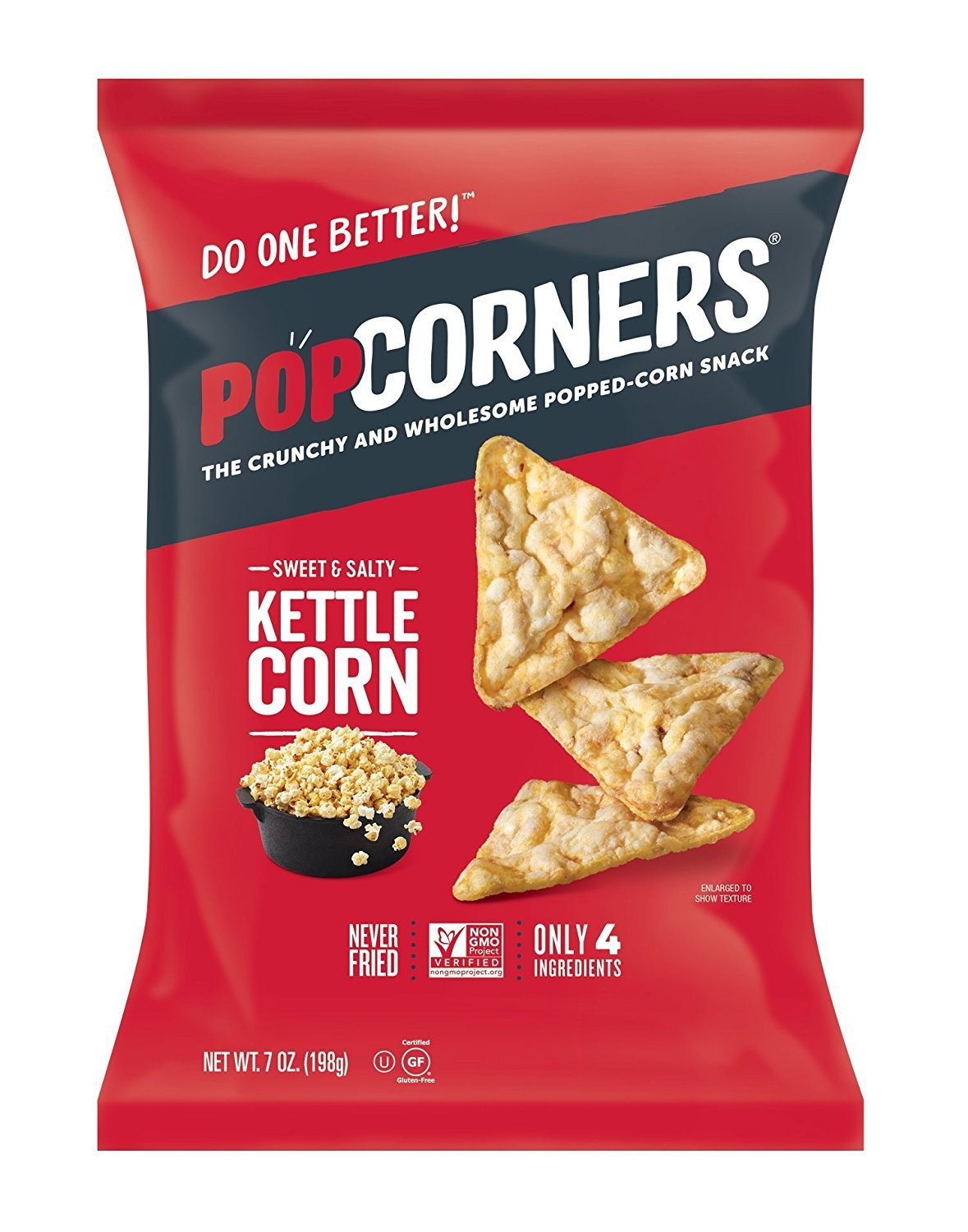 Popcorners Natural Popped Corn Chips 5-Ounce Package, Kettle Flavor (Case of 6)