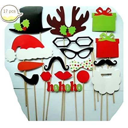 Amazon.com  Christmas Party Photo Booth Props Hats Glasses Mustache ... 1f85b5d7bf5