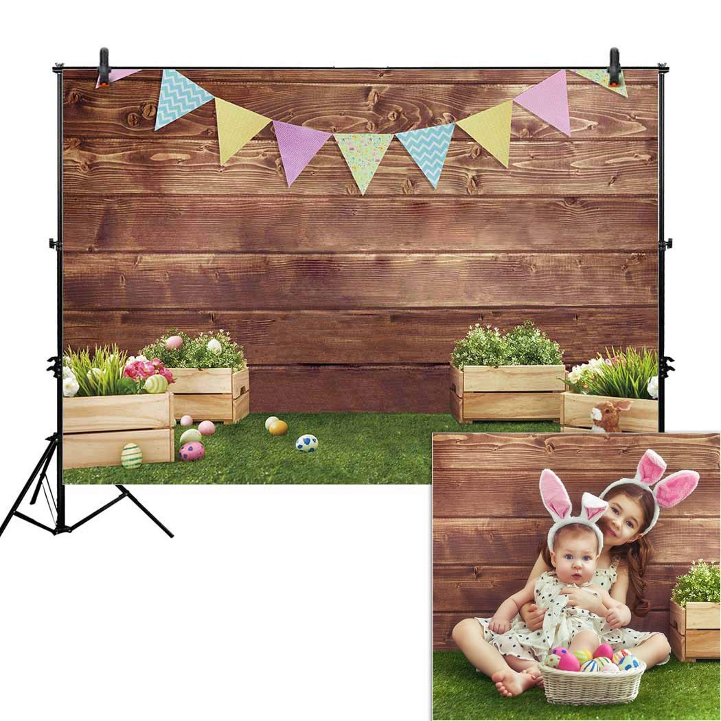 Allenjoy 8x6ft Fabric Spring Easter Backdrops for Girls Photography Wrinkle Free Happy Bunny Rabbit Green Grass Brown Wooden Wall Baby Shower Kids Newborn Portrait Background Photo Studio Shooting