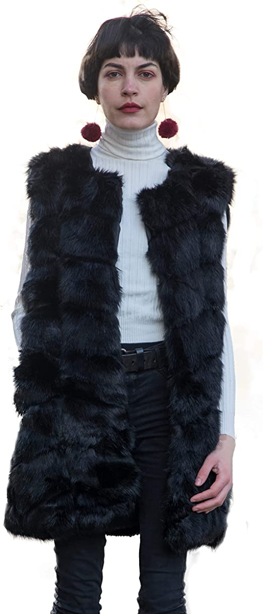 timeless design reasonable price super specials CY Boutique Luxury Soft faux fur patch design oversized gilet coat ...