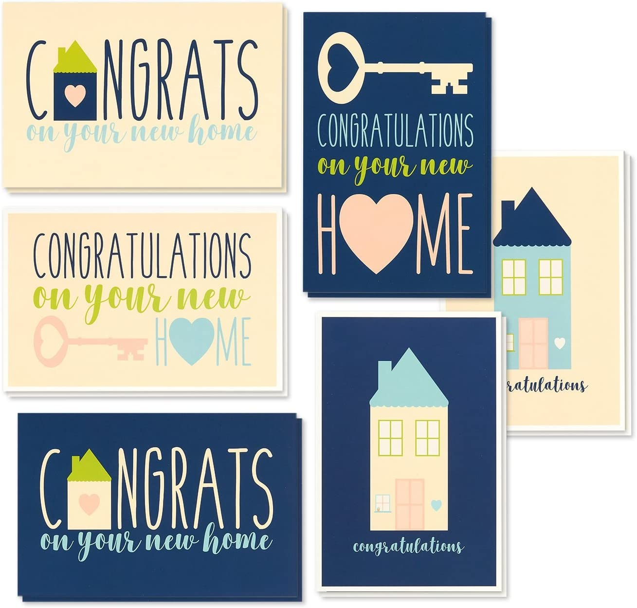 Pack of 4 Assorted with Envelopes Button Congrats Cards