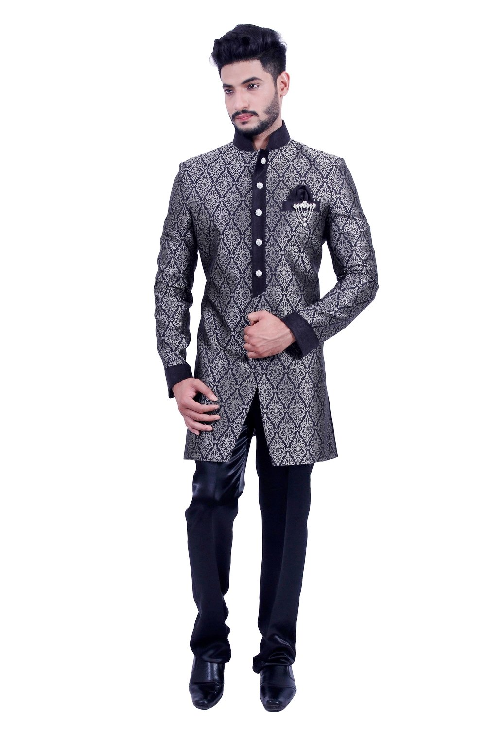 Silver and Black Indian Wedding Indo-Western Sherwani for Men
