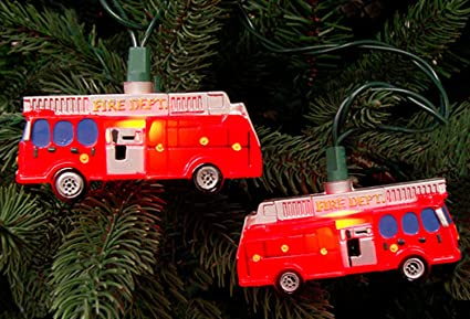Set of 10 Fire Department Red Truck Christmas Lights - Green Wire - Amazon.com : Set Of 10 Fire Department Red Truck Christmas Lights