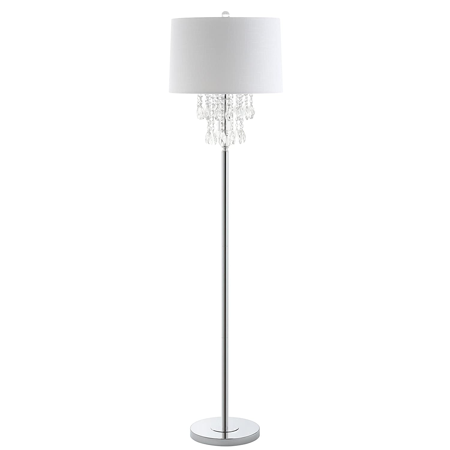 """JONATHAN Y JYL2034A Floor Lamp, 16.0"""" x 61.0"""" x 16.0"""", Clear/Chrome with White Shade"""