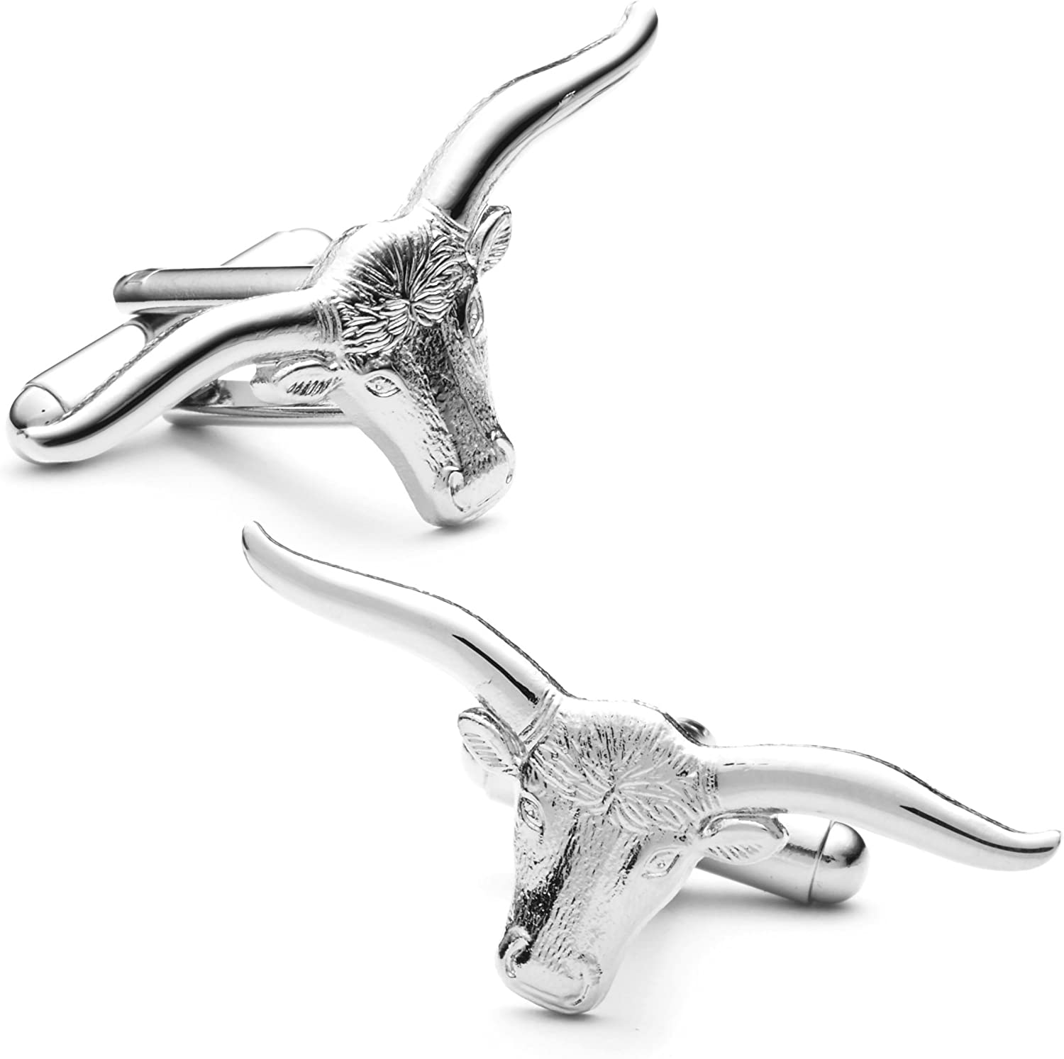 Mens Plated Longhorn Steer Cufflinks