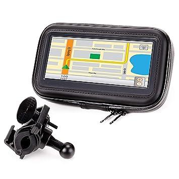 Soporte y Carcasa Impermeable para el Móvil o GPS en Moto Bicicleta o Scooter con visión 360 y pantalla táctil por USA GEAR / Perfecto para moviles y ...
