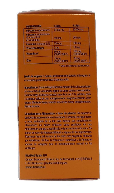 Dietmed CURCUMAX, / Curcuma + Piperina (pimienta negra) / 95% Curcumina, /100% vegano,60 Cápsulas de Cúrcuma 10.000 mg por cápsula, ZINC y VITAMINA C, ...