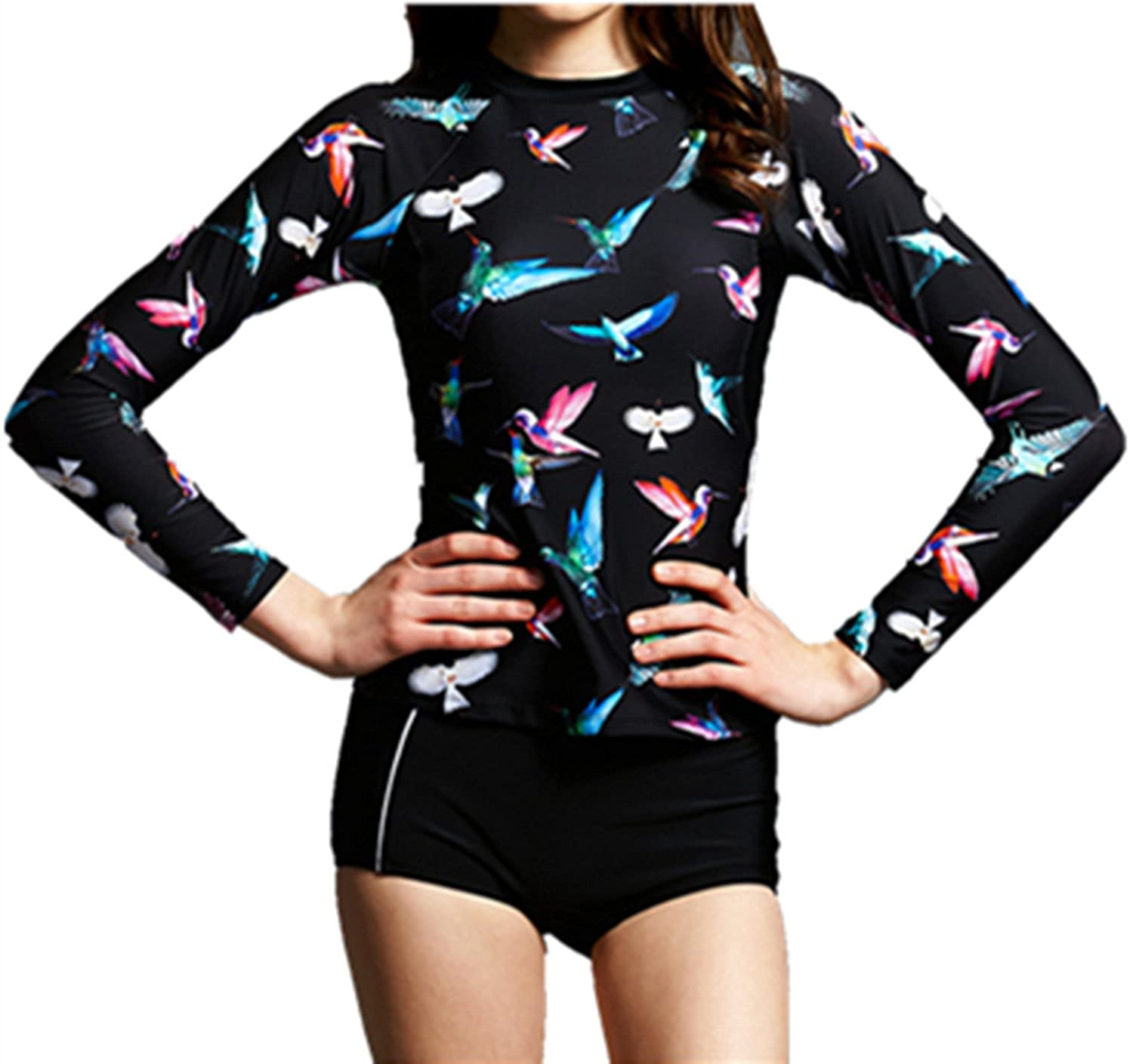 Crazycatz@ Girls Rash Guard Sets UV Protection Rash Gurads Top+Bottom