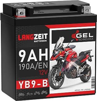 Langzeit Yb9 B Motorradbatterie 12v 9ah 190a En Gel Batterie 12v Doppelte Lebensdauer Entspricht Yb9 Bs Cb9 B 50914 Gm9z 12n9 4b 1 Vorgeladen Auslaufsicher Wartungsfrei Ersetzt 8ah Auto