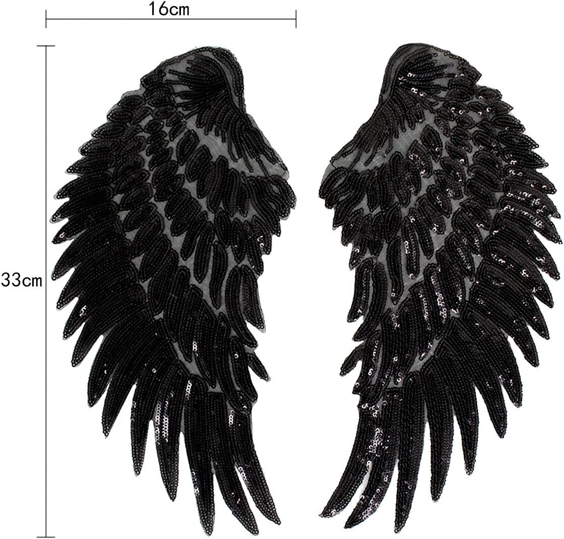 Iron On Patch Applique Meliya 1 Pair Sequins Angel Wings Iron On Patch Diy Embroidered Clothes Decoration Black Amazon Co Uk Kitchen Home