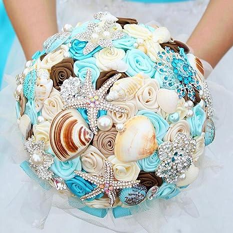 Bouquet Sposa Mare.Gt Bouquet Sposa Da Sposa Con Fiori In Raso Sposa Bouquet