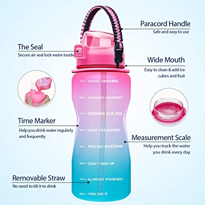 Giotto Large Half Gallon//64OZ Motivational Water Bottle with Paracord Handle /& Removable Straw Leakproof Tritan BPA Free Fitness Sports Water Jug with Time Marker-64OZ-Purple//Coral Gradient