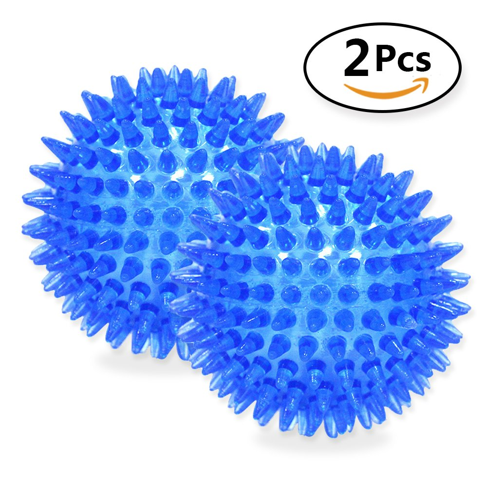 AMOMI PET Squeaky Ball for dog - Big Dog Toys Rubber Durable Balls for Pets, Set of 2, Colors Will Vary