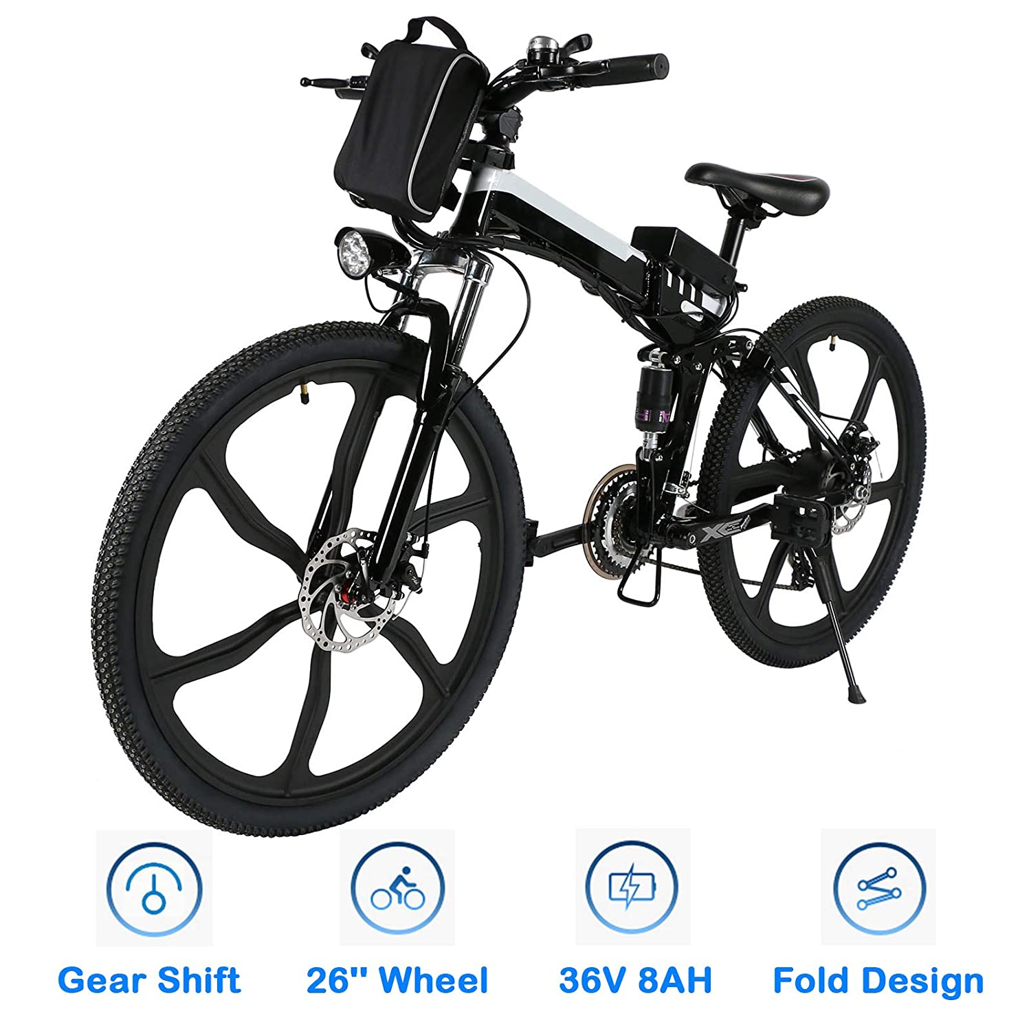 Bestlucky 26 Electric Bike with Removable 36V 8Ah Lithium-Ion Battery, Electric Mountain Bike for Adult US Stock