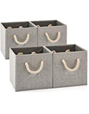 EZOWare [Set of 4] Foldable Fabric Storage Cube Bins with Cotton Rope Handle, Collapsible Water Resistant Basket Box Organizer for Shelves, Closet, 26.5x28x26.5cm (Gray/Gray)