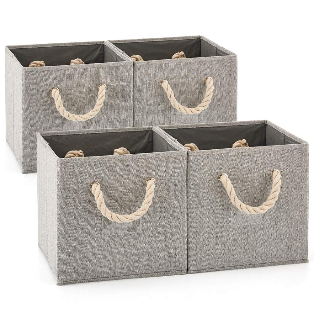 Set of 4 EZOWare Foldable Bamboo Fabric Storage Bin with Cotton Rope Handle, Collapsible Resistant Basket Box Organizer for Shelves, Closet, and More - (10.5x11x10.5 inch) (Gray/Gray)