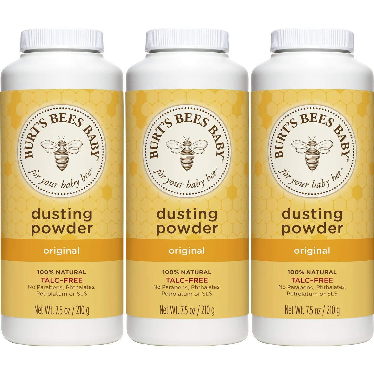 Burt's Bees Baby 100% Natural Dusting Powder, 7.5 Ounces (Pack of 3) (Packaging May Vary) Burt' s Bees