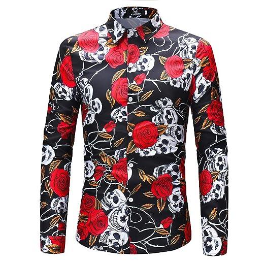 AFCITY-Shirt Camisas para Hombre Camisa Botones Estampado ...