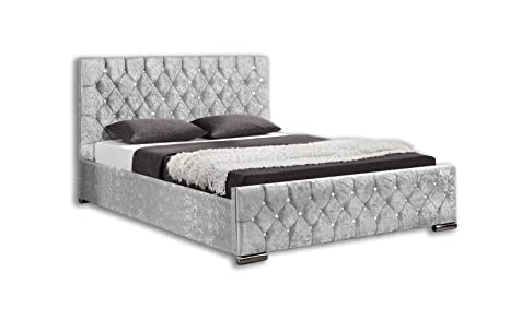 Awe Inspiring Unmatchable Ottoman Storage Diamond Design Upholstered Bed Frame In Velvet Or Chenille Available In Double Or King Size Super King Silver Velvet Machost Co Dining Chair Design Ideas Machostcouk