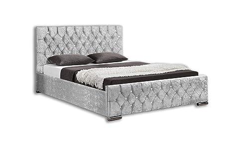 Brilliant Unmatchable Ottoman Storage Diamond Design Upholstered Bed Frame In Velvet Or Chenille Available In Double Or King Size Super King Silver Velvet Ibusinesslaw Wood Chair Design Ideas Ibusinesslaworg