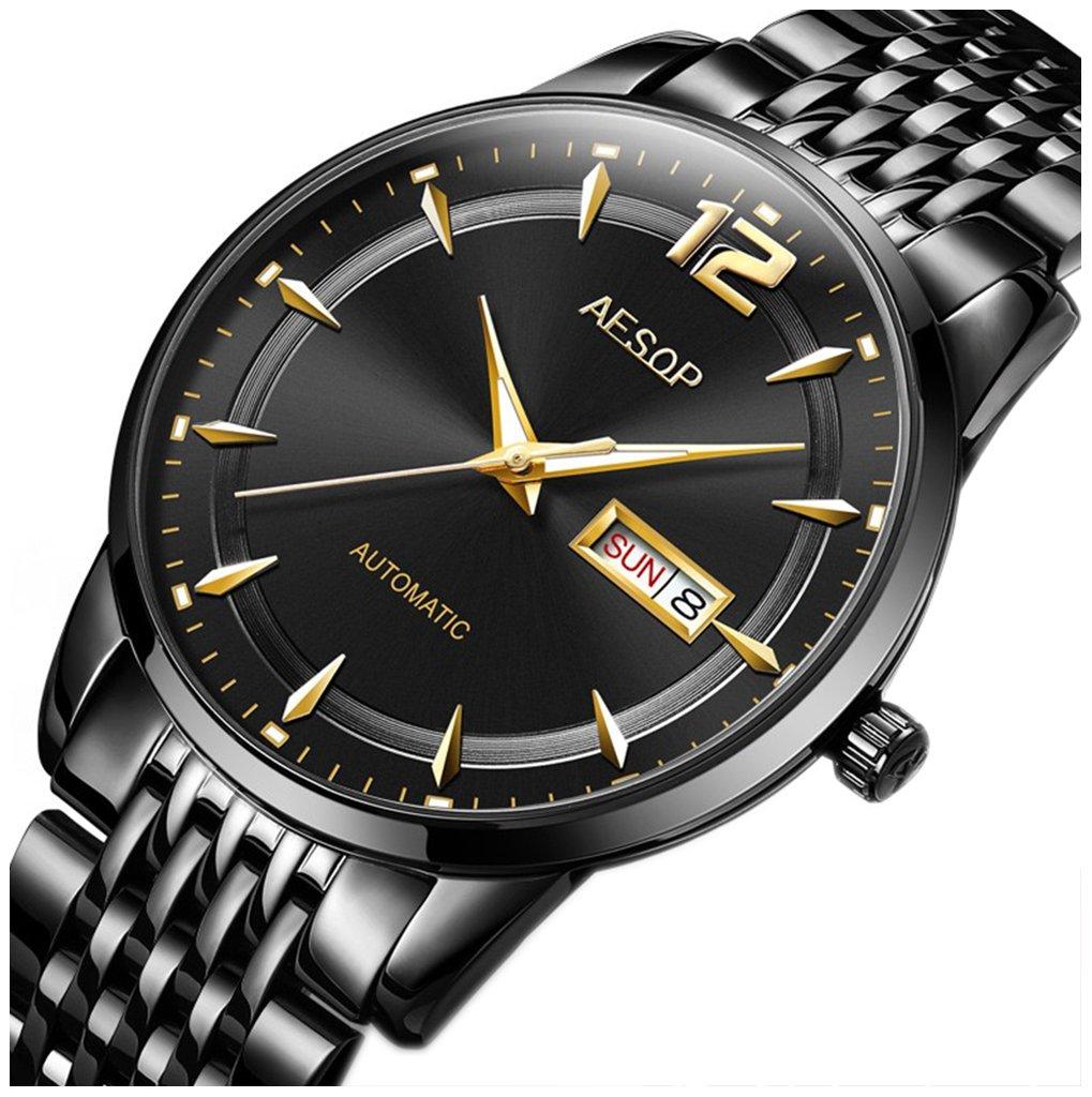 メンズ超薄型サファイアクリスタル自動Watch with Day Date Mechanical Wrist Watchesブラックステンレススチールブレスレットウォッチ Men's standard ブラック B07CKB7CHS ブラック ブラック