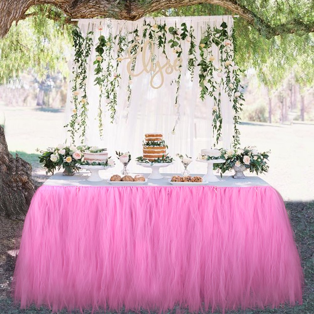 OurWarm Tutu Table Skirt Tulle Tablecloth Wedding Baby Shower Birthday Girl Princess Party Decorations 100cm X