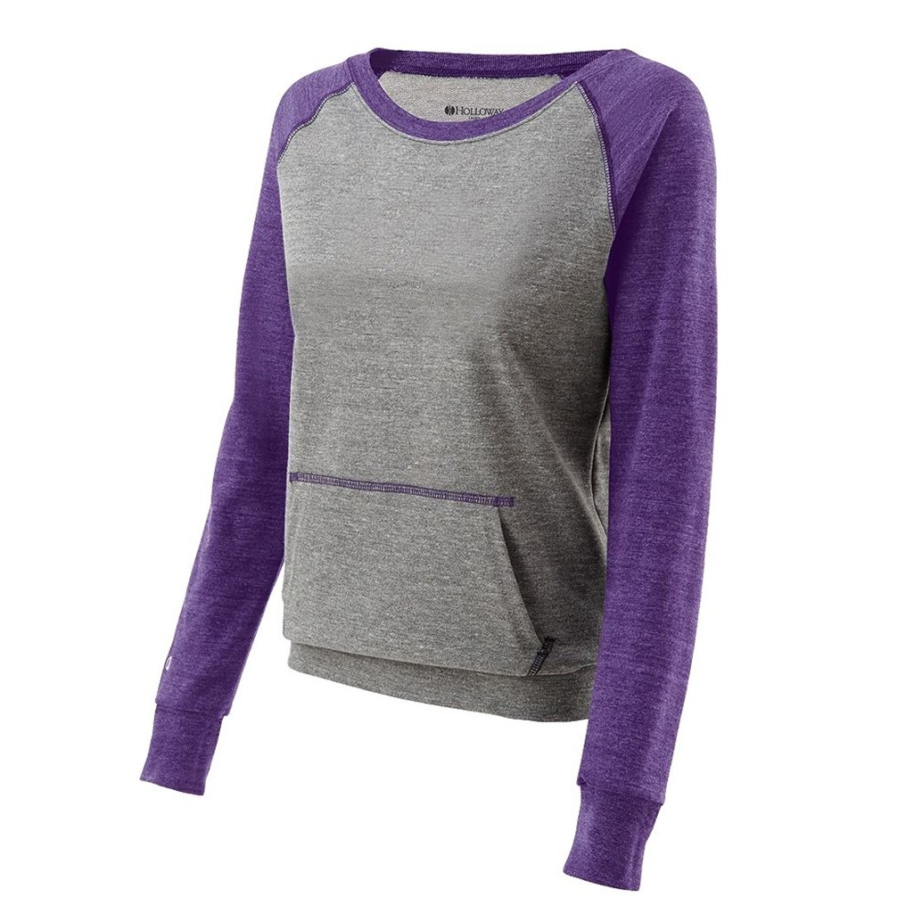 Holloway Juniors Candid Vintage Crew Shirt (Small, Vintage Grey/Vintage Purple) by Holloway