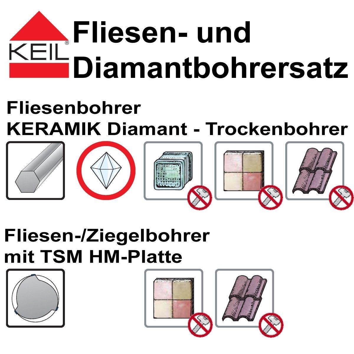 Set 3/pi/èces Keil Foret diamant/é C/éramique carrelage sec HSS avec queue hexagonale 5//6//8/mm
