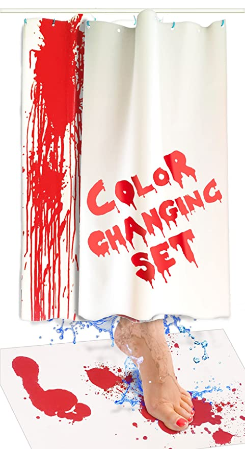 Bloody Bath Mat And Shower Curtain Set Color Changing Fabric Really Turns Red When Wet