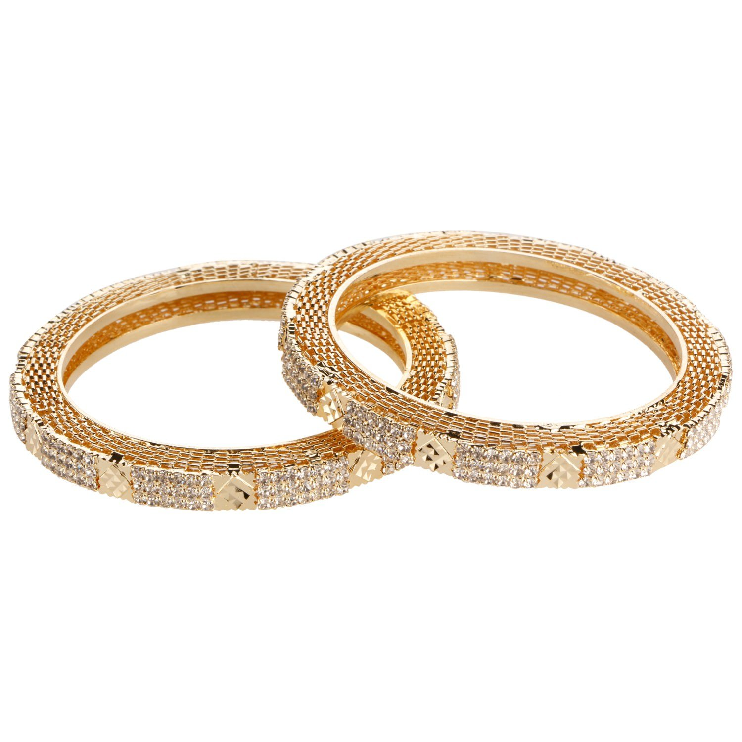 Efulgenz Fashion Jewelry Indian Bollywood 14 K Gold Plated Cubic Zirconia Bracelets Bangle Set (2 Pieces) For Women