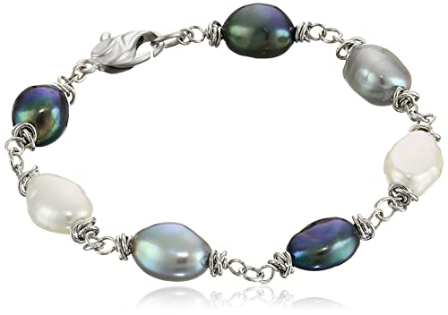 Honora Tuxedo Freshwater Cultured Pearl Link Bracelet, 7.5