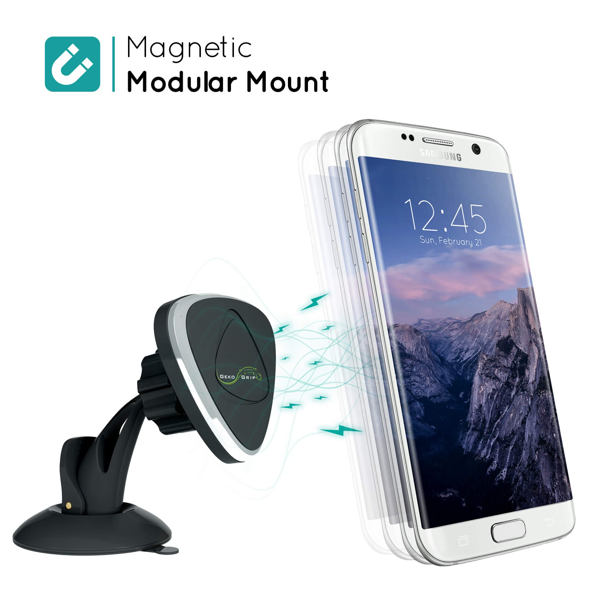 GekoGrip Magnetic Car Phone Holder - Strong Magnet Holds All iPhone & Android Smartphones & Mini Tablets | Drive Smart & Avoid Tickets for a Safe Experience | Universal Cradle-less Dashboard Mount