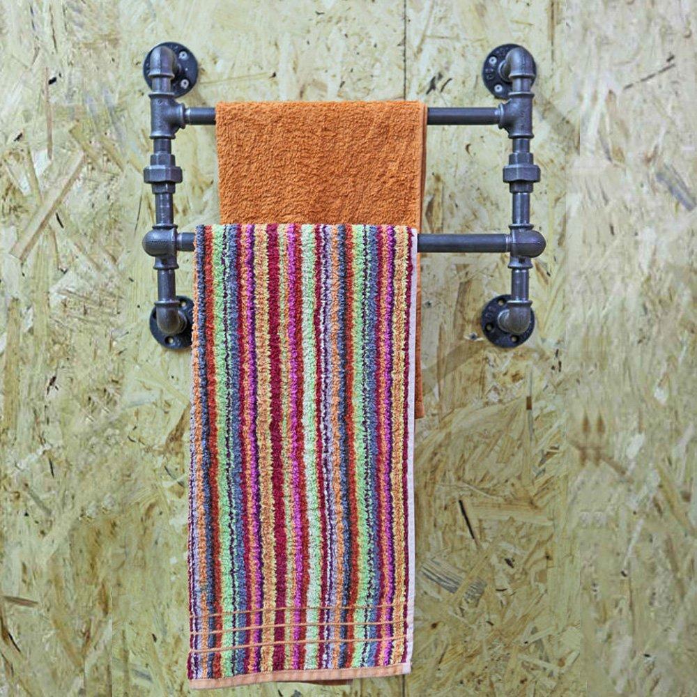 FOF Industrial Retro Wall Mount iron Pipe Shelf,Bathroom Wall Unit,2 tier Pipe shelves and Towel Holder,Floating Shelves,Bathroom Decor,Towel Storage, Towel rack (16'' Width)