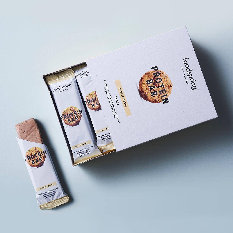 foodspring - Barritas proteicas - Sabor Cookie Dough - 33% de proteína - Sin azúcares añadidos - Perfectas para después de entrenar o como merienda para ...