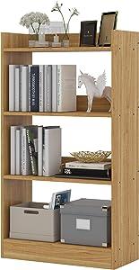 Flrrtenv 4 Shelves Bookshelf,4 Tier Etagere Bookcase Storage Shelf for Home Office (Light Walnut Brown, 23.62 inches)