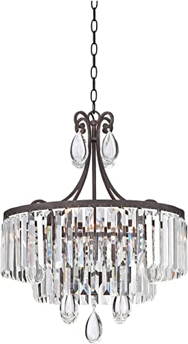 Luba Bronze Crystal Pendant Chandelier 20 Wide Scroll 4-Light Fixture for Dining Room House Foyer Kitchen Island Entryway Bedroom Living Room – Vienna Full Spectrum